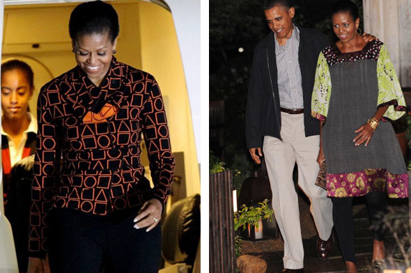 (Left)Michelle in Duro Olowu - Photo Credit EPA(Right)August 24, 2010Where:Leaving the State Road restaurant after having dinner with friends in West Tisbury, on the island of Martha's Vineyard, Massachusetts.Photo: CJ Gunther-Pool/Getty Images